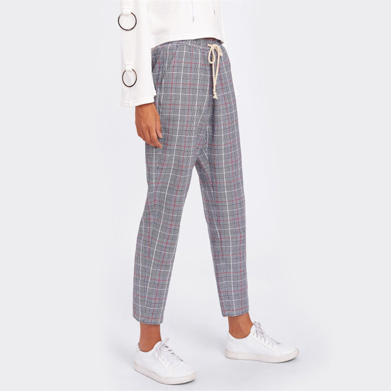 Drawstring Plaid High Waist Cropped Trousers