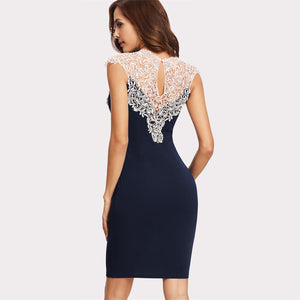 Navy Floral Lace Form Fitting Sheath Dress