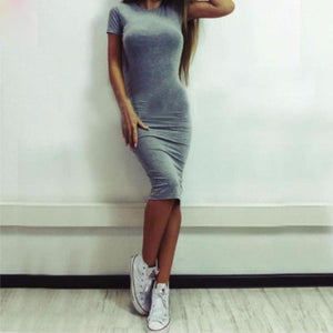 Sexy Solid Short Sleeve Slim Dress