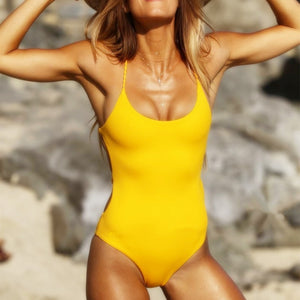 2018 Solid Backless One Piece Halter Bathing Suit