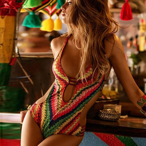 Bandage One Piece Bikini Monokini Push Up Padded Bra Swimwear