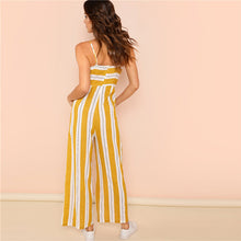 Ginger Striped Wide Leg High Waist Casual Cami Jumpsuit