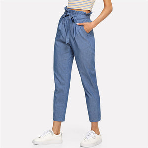 Weekend Casual Belted Ruffle Mid Waist Straight Leg Pants
