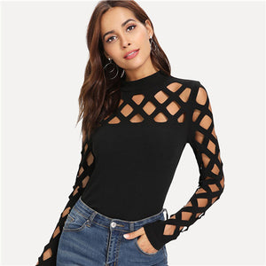 Square Cutout Shoulder Fitted Skinny Top