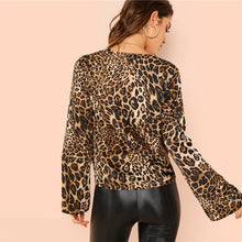 Leopard Deep V Neck Ruffle Blouse