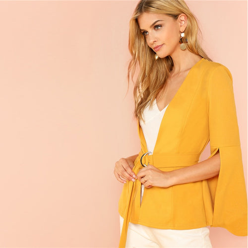 Yellow Split Sleeve Belted Long Sleeve Blazer