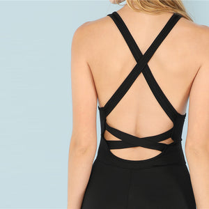 Backless Solid Active Jumpsuit