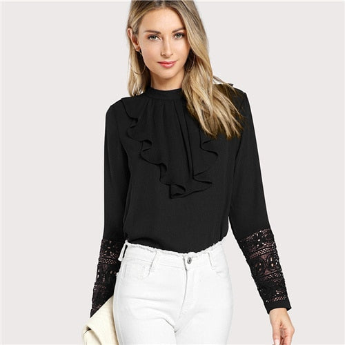Minimalist Lace Cuff Ruffle Breasted Blouse