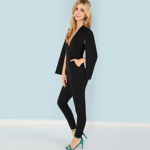 Plunging Neck Tapered Office Jumpsuit