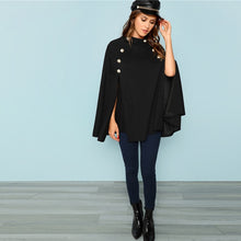 "Black Double Button ""Poncho"" Coat"