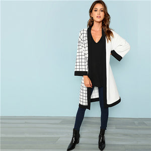 Cut And Sew Grid Print Long Sleeve Minimalist Coat