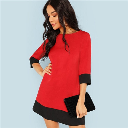 Red Contrast Trim Tunic Dress