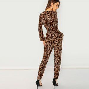 Leopard Long Sleeve Romper Jumpsuit