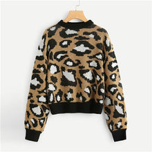 Preppy Leopard Print Round Neck Autumn Sweater