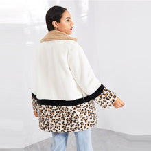 Highstreet Cut and Sew Leopard Panel Faux Fur Teddy Coat