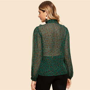 Green Button Up Leopard Print Vintage Work Blouse