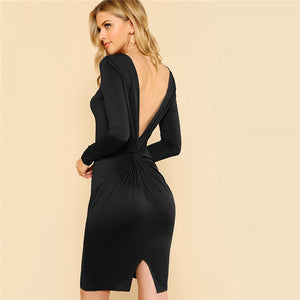 Solid Black Sexy Backless Dress