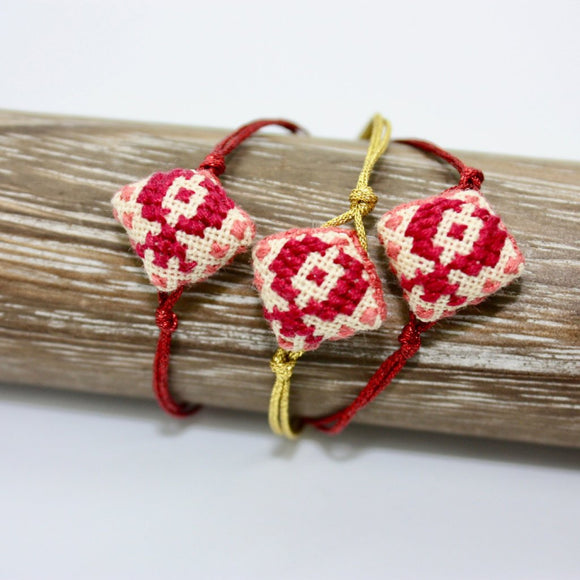 Pomegranate Embroidered Bracelet