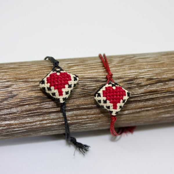 Heart Embroidered Bracelet