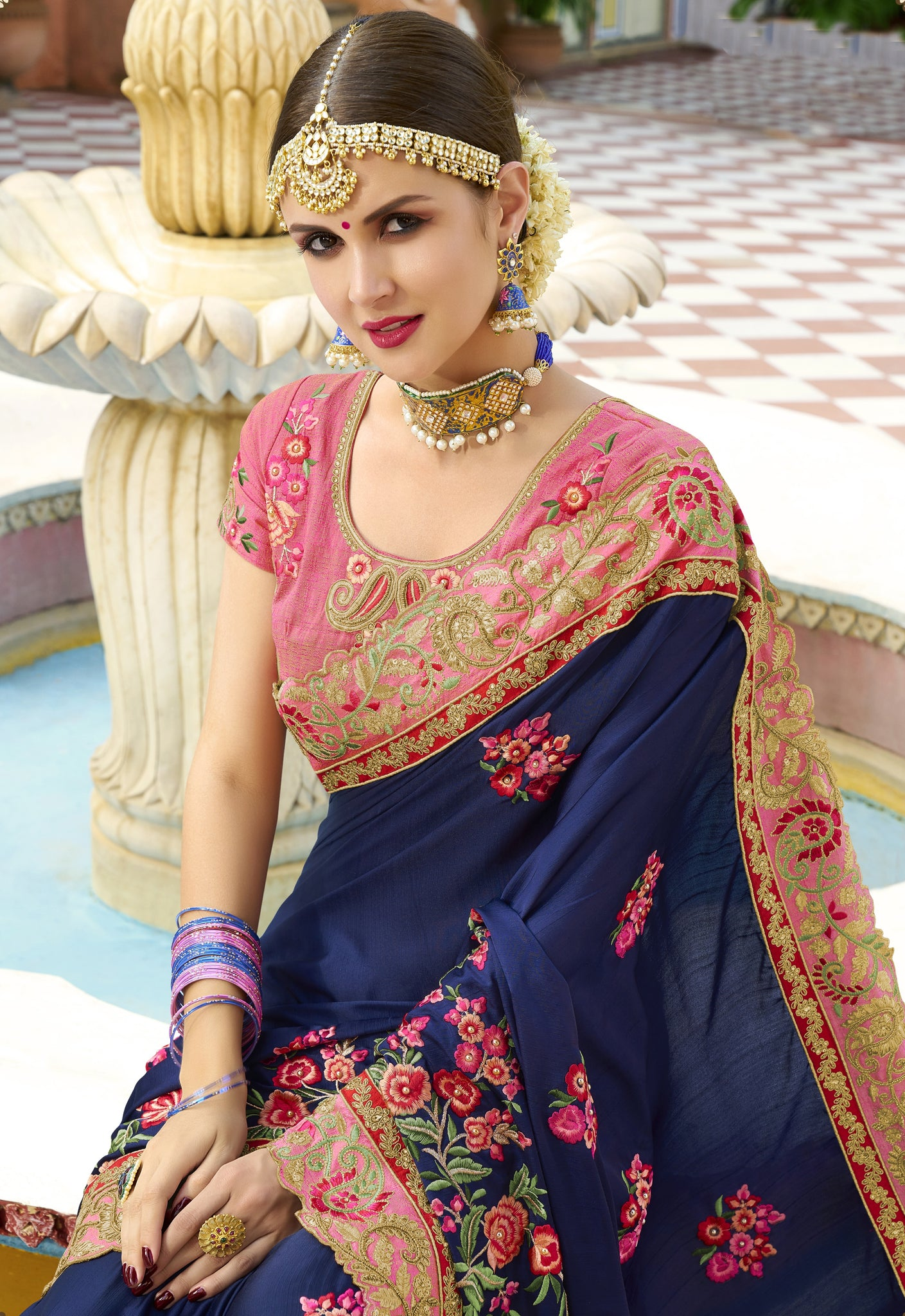 d96f6340cb3 ... Navy Blue Stones   Pearls Work Embroidered Silk Saree   Unstitched  Blouse