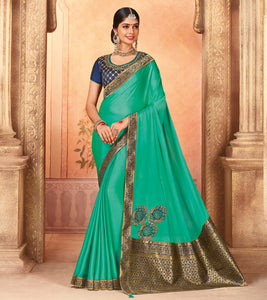 3592efd2fef Turquoise Zari Embroidered Art Silk Saree   Unstitched Blouse ...