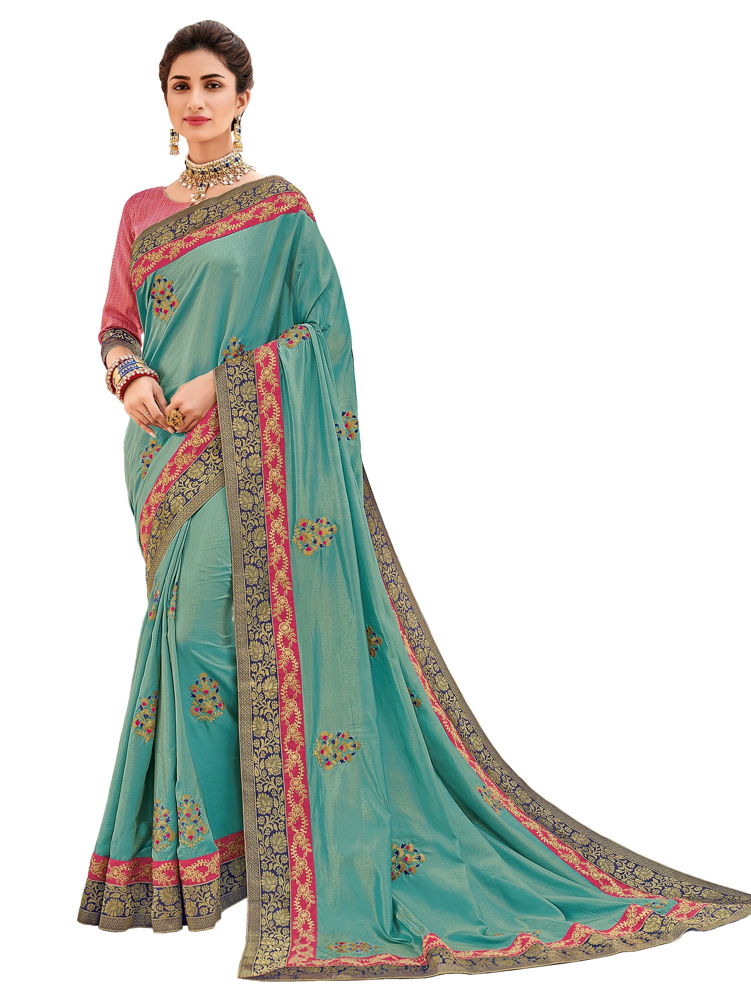 aa62eeb4884 Sky Blue Embroidered Art Silk Saree   Unstitched Blouse – Raspberry ...