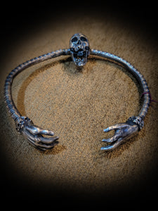 Sterling Silver Skull Arm Bangle - SohoInk Clothing Merchandise