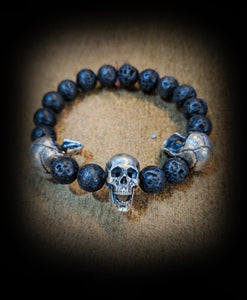 Black Beaded Skull Hinge Bracelet - SohoInk Clothing Merchandise