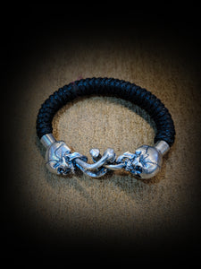 Linked Sterling Silver Skull Bracelet with leather Stra - SohoInk Clothing Merchandise
