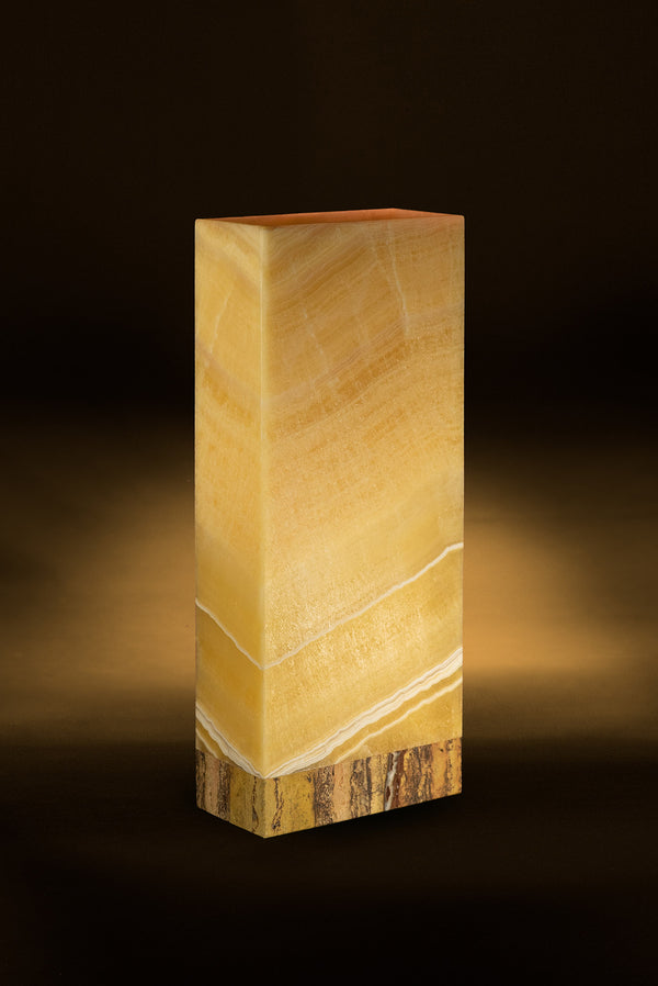 Miel Rectangular Table Lamp with Travertine Base