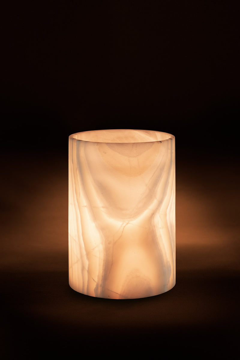 Glacier cylidrical table lamp