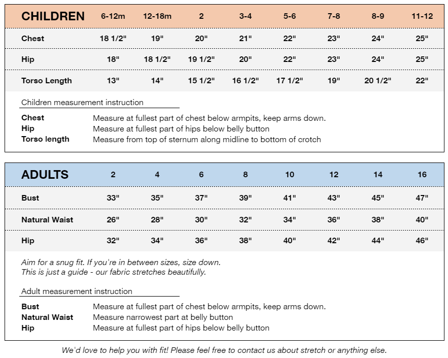 Childrens and Adults size chart for friendship unlimited suits