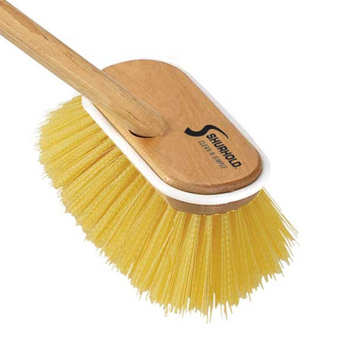 SKU #1955 Shurhold Yellow Medium Deck Brush on Wooden Handle