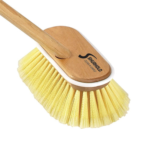 SKU #1960 Shurhold Yellow Soft Deck Brush on Wooden Handle