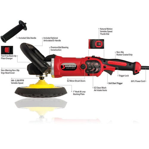 SKU #3400 Shurhold Pro Rotary Polisher Diagram