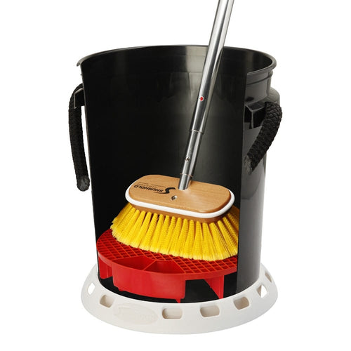 SKU #2402 Shurhold Bucket Grate in Bucket with Brush