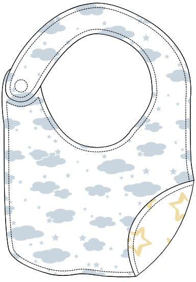 Reversible Organic Cotton Bib - Blue Clouds with Sunlight Star