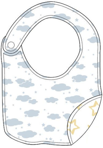 Reversible Organic Cotton Bib - Blue Clouds with Sunshine Star
