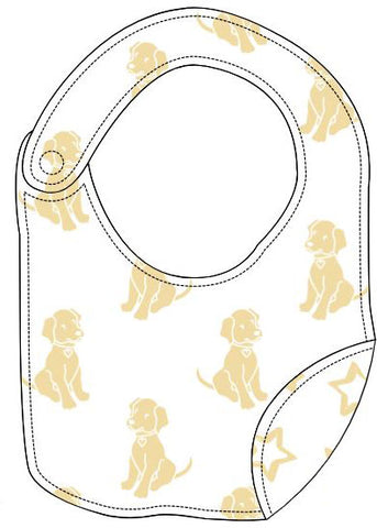 Reversible Organic Cotton Bib - Sunshine Dogs with Sunshine Stars