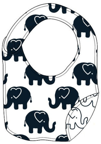 Reversible Organic Cotton Bib - Navy Ellies with Navy Outline Elllies