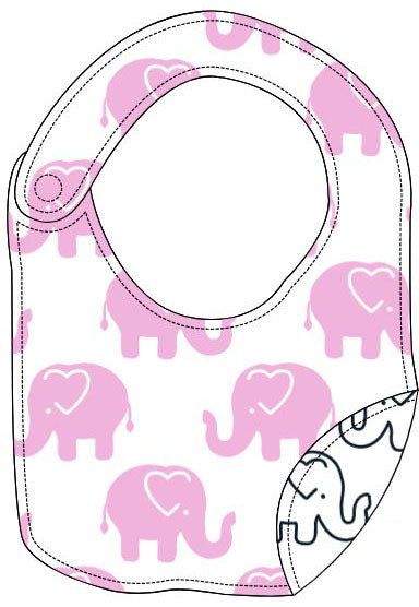 Reversible Organic Cotton Bib - Pink Ellies wth Navy Outline Elllies