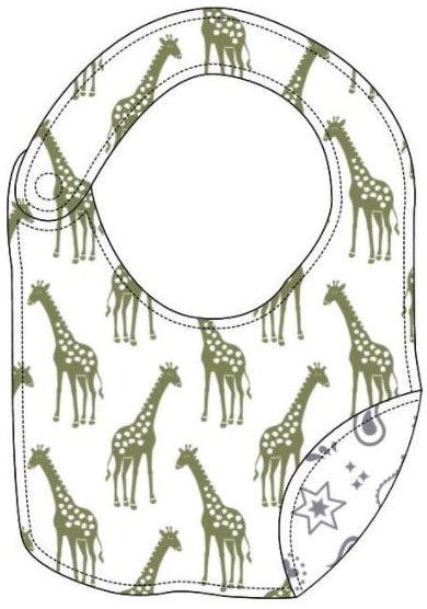 Reversible Organic Cotton Bib - Iguana Giraffes with Silver Grey Bandana