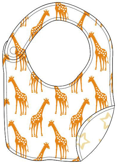 Reversible Organic Cotton Bib - Dark Cheddar Giraffes with Sunlight Stars