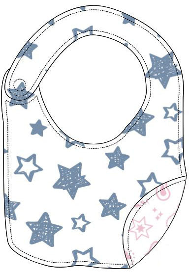 Reversible Organic Cotton Bib - Denim Blue Stars and Pink Bandana