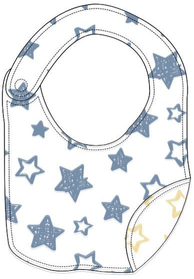 Reversible Organic Cotton Bib - Denim Blue and Sunlight Stars