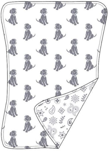 Reversible Organic Cotton Burp Cloth - Silver Grey Dogs with Silver Grey Bandana