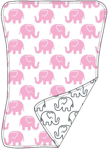 Reversible Organic Cotton Burp Cloth - Pink Ellies with Navy Outline Elllies
