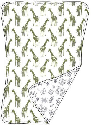 Reversible Organic Cotton Burp Cloth - Iguana Giraffes with Silver Grey Bandana