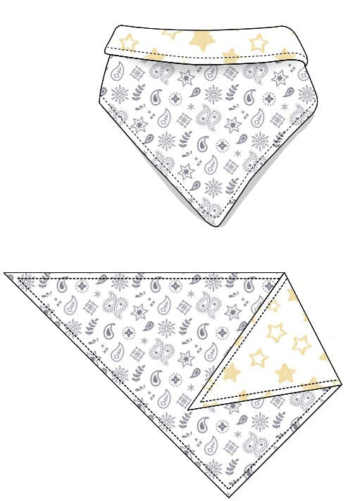 Reversible Organic Cotton Dog Bandana - Silver Grey Bandana with Sunlight Star
