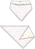 Reversible Organic Cotton Dog Bandana - Pink Bandana with Sunshine Star